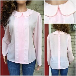 Baby pink pearl detail button back blouse